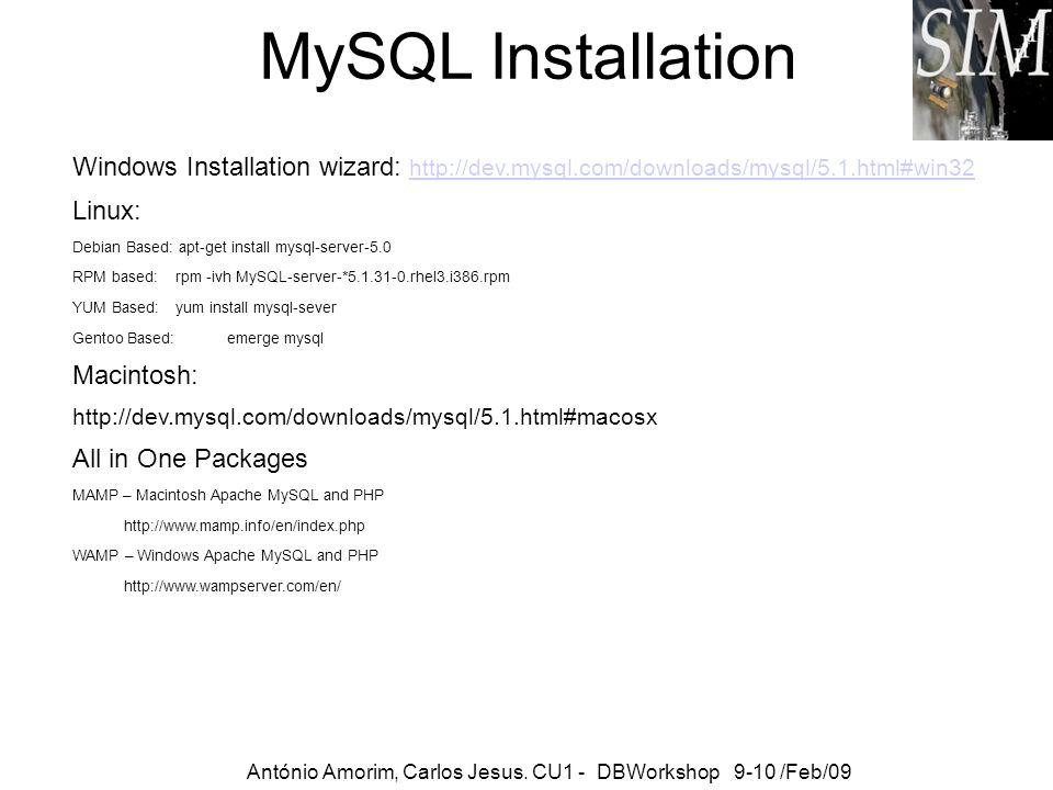 MySQL Installation António Amorim, Carlos Jesus. CU1 - DBWorkshop 9-10 /Feb/09 Windows Installation wizard: http://dev.mysql.com/downloads/mysql/5.1.h