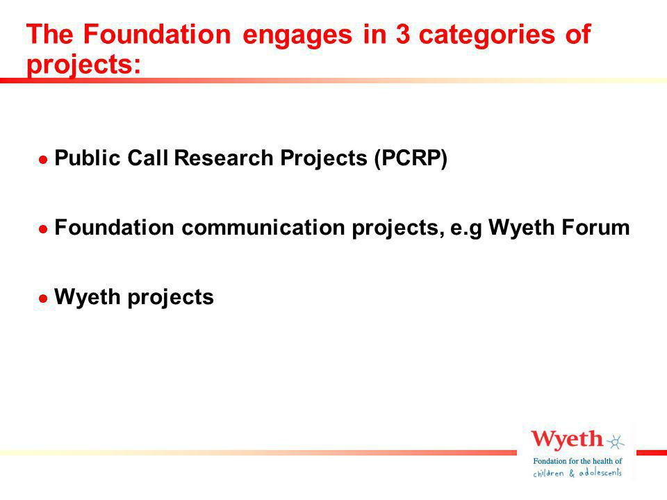 The Foundation engages in 3 categories of projects: Public Call Research Projects (PCRP) Foundation communication projects, e.g Wyeth Forum Wyeth projects