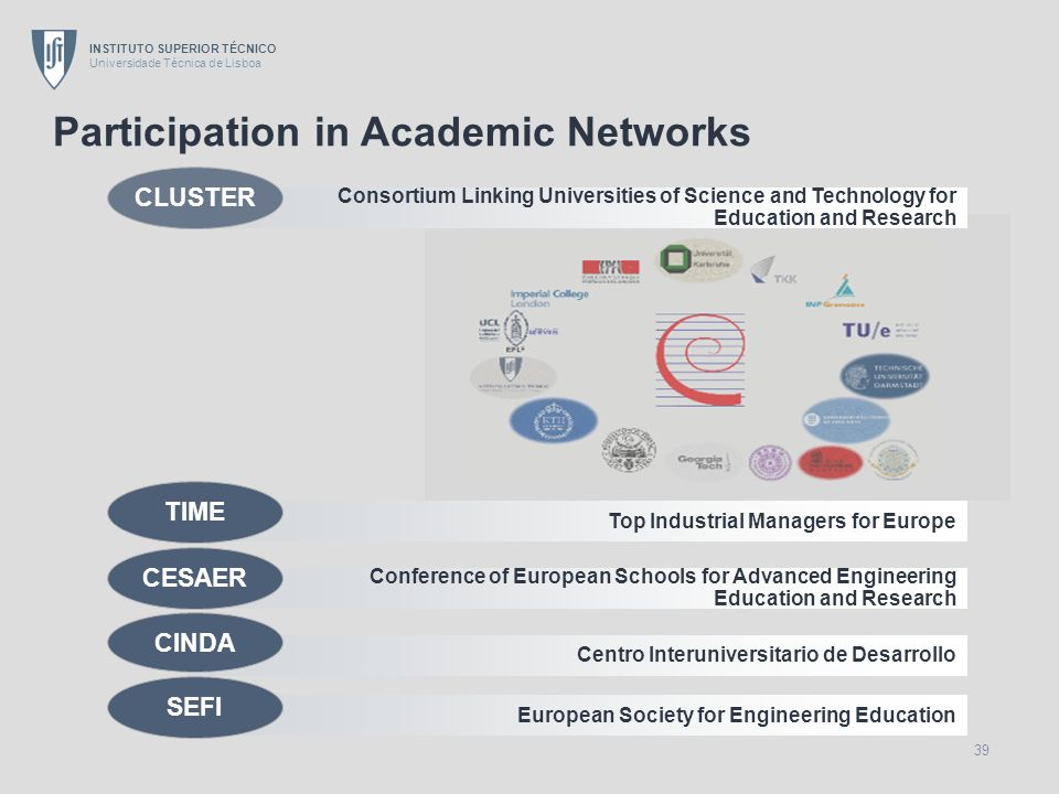 INSTITUTO SUPERIOR TÉCNICO Universidade Técnica de Lisboa 39 Participation in Academic Networks Conference of European Schools for Advanced Engineerin