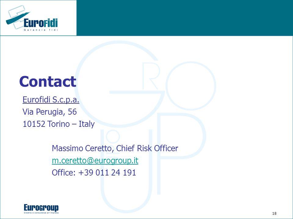 18 Contact Eurofidi S.c.p.a. Via Perugia, 56 10152 Torino – Italy Massimo Ceretto, Chief Risk Officer m.ceretto@eurogroup.it Office: +39 011 24 191
