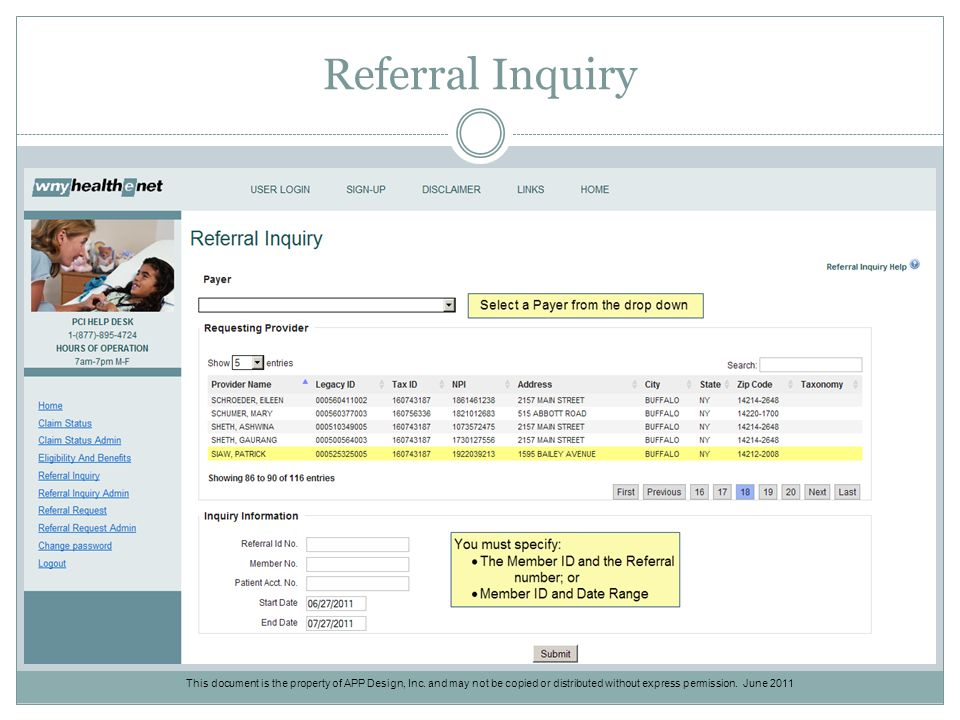 Referral Inquiry This document is the property of APP Design, Inc.