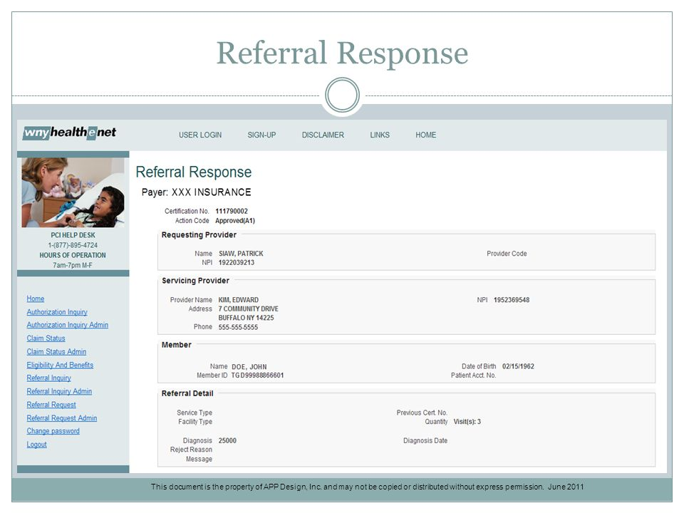Referral Response This document is the property of APP Design, Inc.