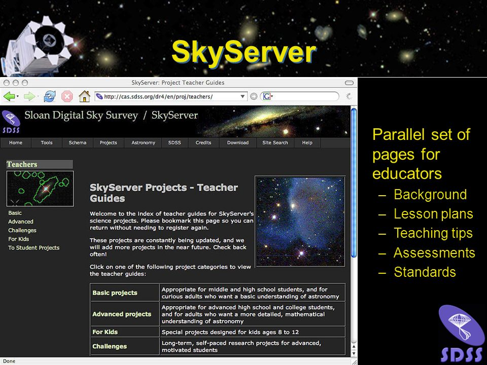 Parallel set of pages for educators –Background –Lesson plans –Teaching tips –Assessments –Standards