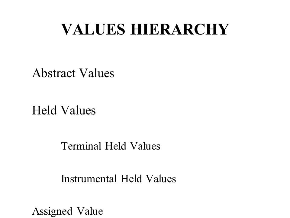 VALUES HIERARCHY Abstract Values Held Values Terminal Held Values Instrumental Held Values Assigned Value