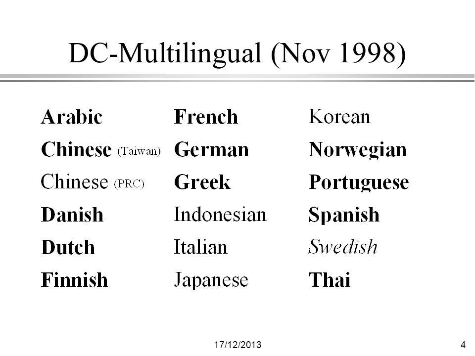 17/12/201315 Addresses l http://purl.org/metadata/dublin_core l http://www.cs.ait.ac.th/~tbaker/DC- Multilingual.html l Mailing list: dc-international@cs.ait.ac.th l Mailing list archive: http://dlforum.external.forth.gr/dcm l thomas.baker@cs.ait.ac.th