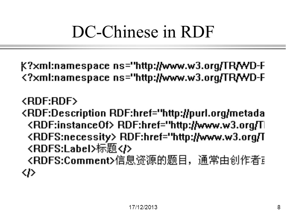17/12/20139 Shows three technologies l Dublin Core (in multiple languages) l Resource Description Framework (RDF) l Multilingual HTML (MHTML) »Not everyone has fonts for Japanese and Thai and it may take awhile for Unicode to become ubiquitous.