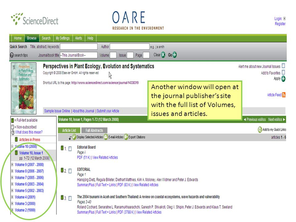Another window will open at the journal publishers site with the full list of Volumes, issues and articles.