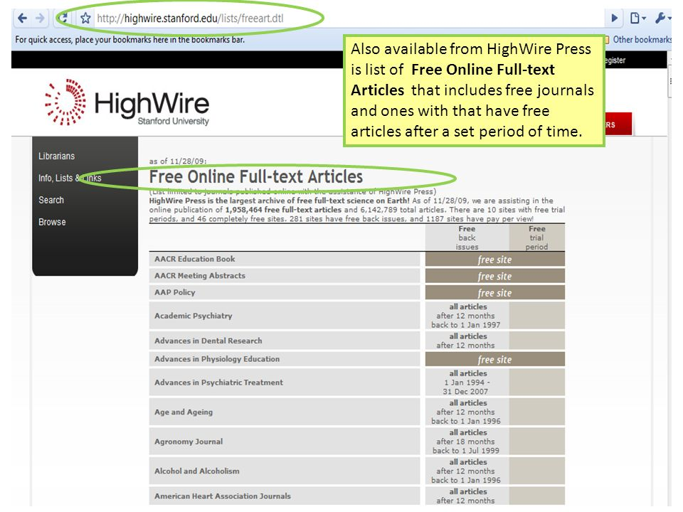 HighWire Press 4 Also available from HighWire Press is list of Free Online Full-text Articles that includes free journals and ones with that have free
