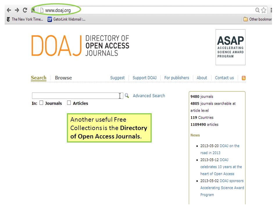 Another useful Free Collections is the Directory of Open Access Journals.