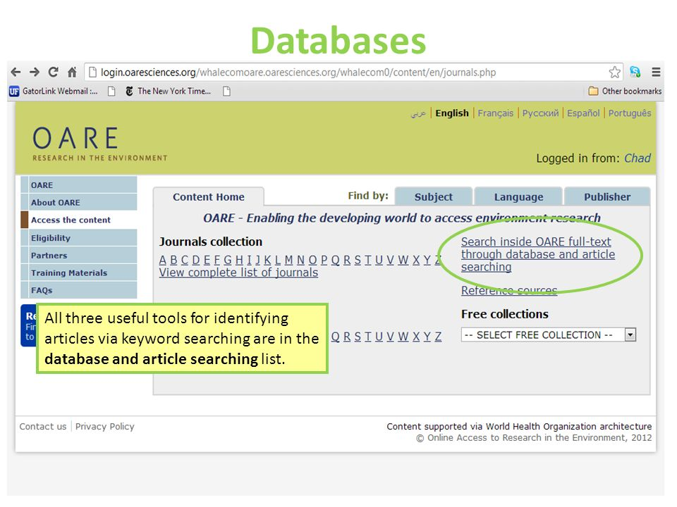 Databases All three useful tools for identifying articles via keyword searching are in the database and article searching list.