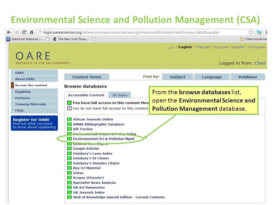 Environmental Science and Pollution Management (CSA) From the browse databases list, open the Environmental Science and Pollution Management database.