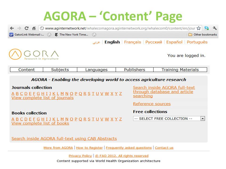 AGORA – Content Page
