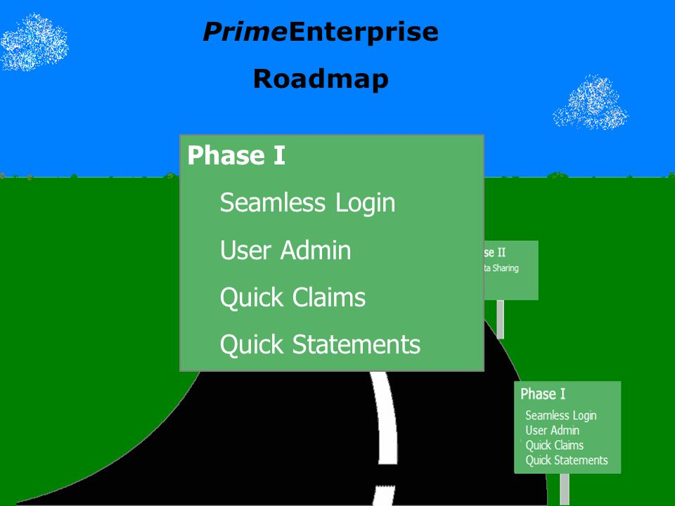 PrimeEnterprise Roadmap Phase I Seamless Login User Admin Quick Claims Quick Statements