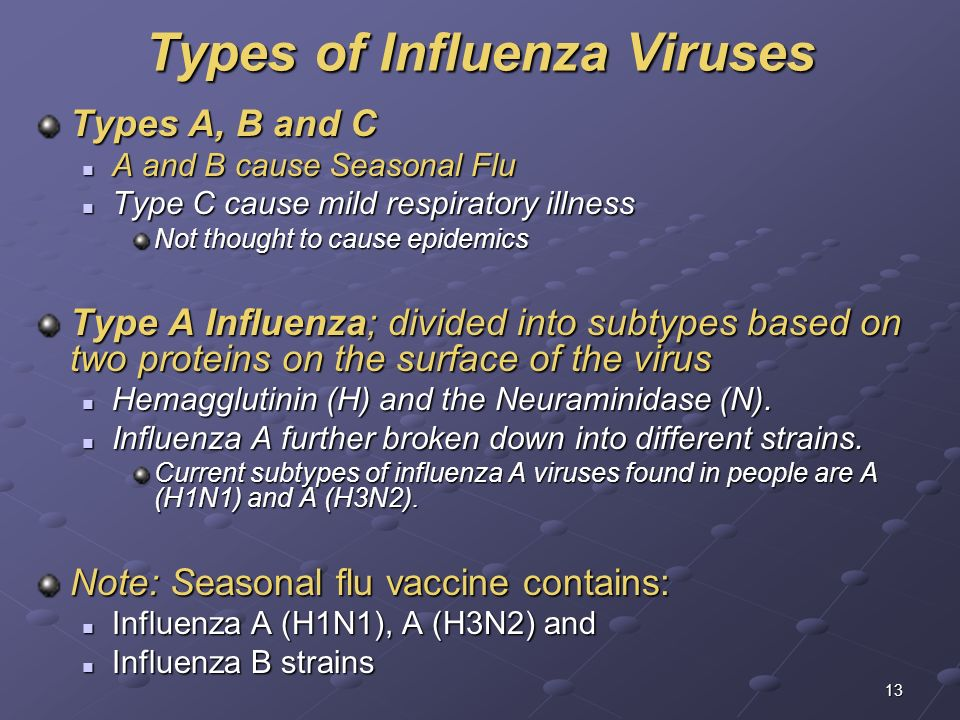 13 Types of Influenza Viruses Types A, B and C A and B cause Seasonal Flu A and B cause Seasonal Flu Type C cause mild respiratory illness Type C caus