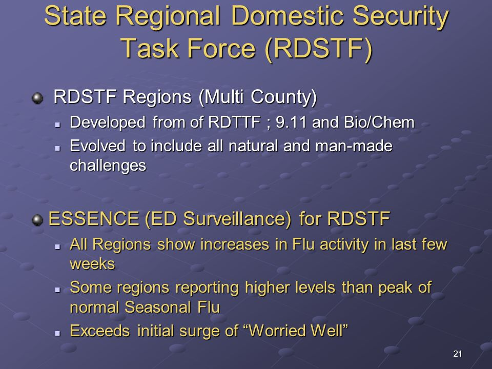 21 State Regional Domestic Security Task Force (RDSTF) RDSTF Regions (Multi County) RDSTF Regions (Multi County) Developed from of RDTTF ; 9.11 and Bi