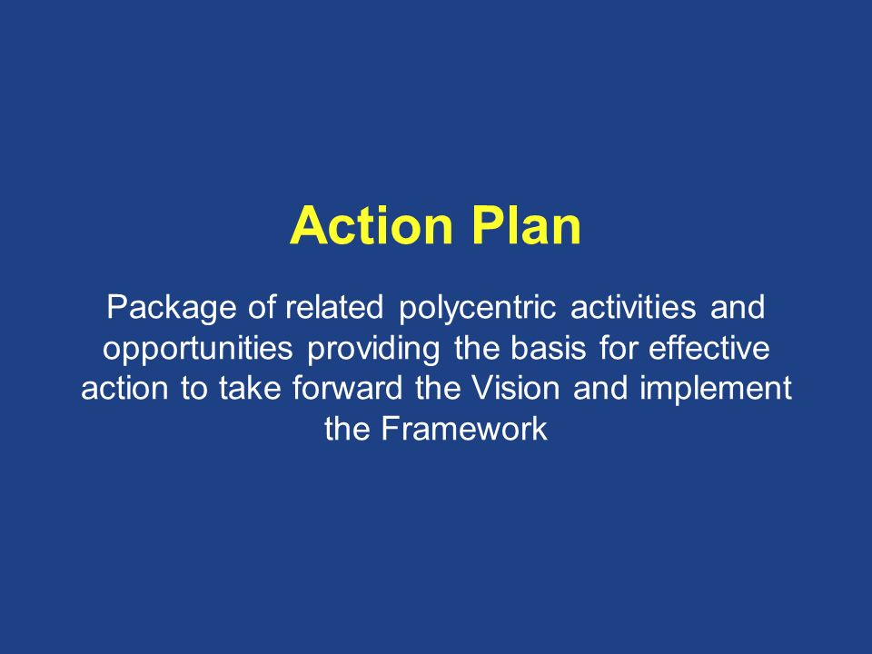Action Plan Package of related polycentric activities and opportunities providing the basis for effective action to take forward the Vision and implem