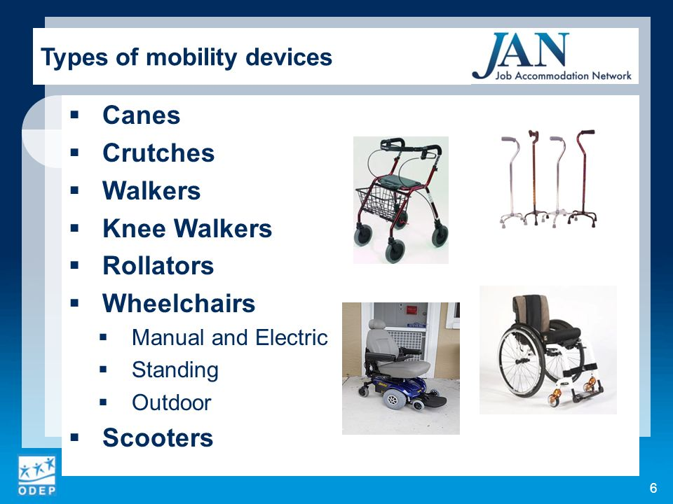 Accessing the work site Accessing the work space Accessing information technology Bending, stooping, and kneeling Reaching Maintaining balance Sitting for prolonged periods Standing Walking Lifting materials Carrying and moving materials Lifting people Driving or operating vehicles 7 Mobility Impairments in the Workplace