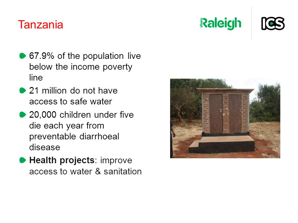 Tanzania 67.9% of the population live below the income poverty line 21 million do not have access to safe water 20,000 children under five die each year from preventable diarrhoeal disease Health projects: improve access to water & sanitation