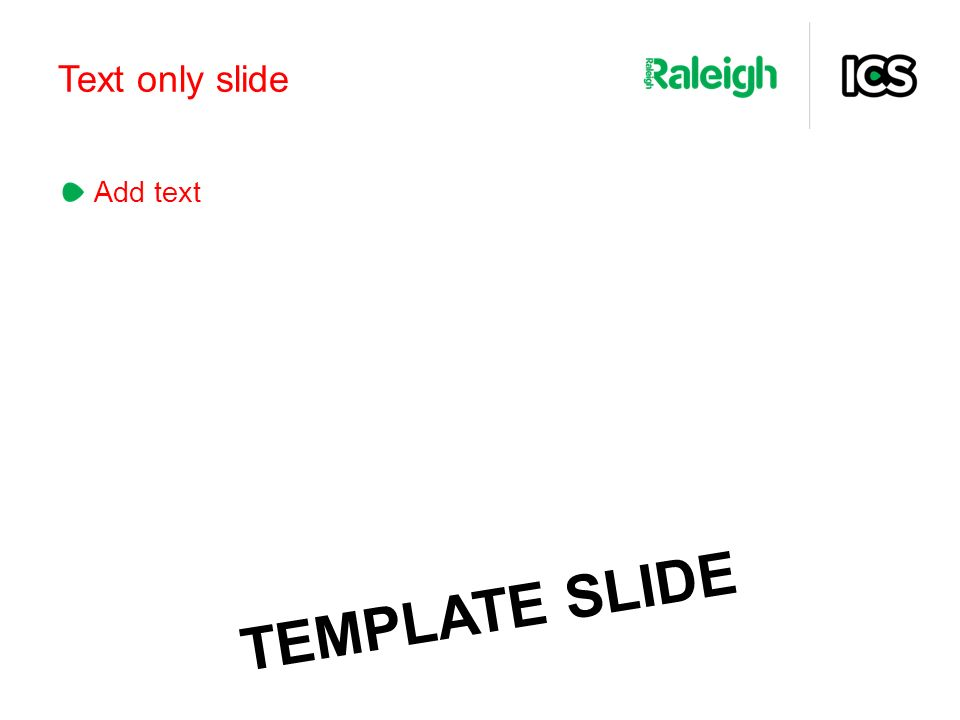 Text only slide Add text TEMPLATE SLIDE