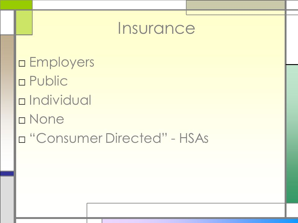 Insurance Employers Public Individual None Consumer Directed - HSAs
