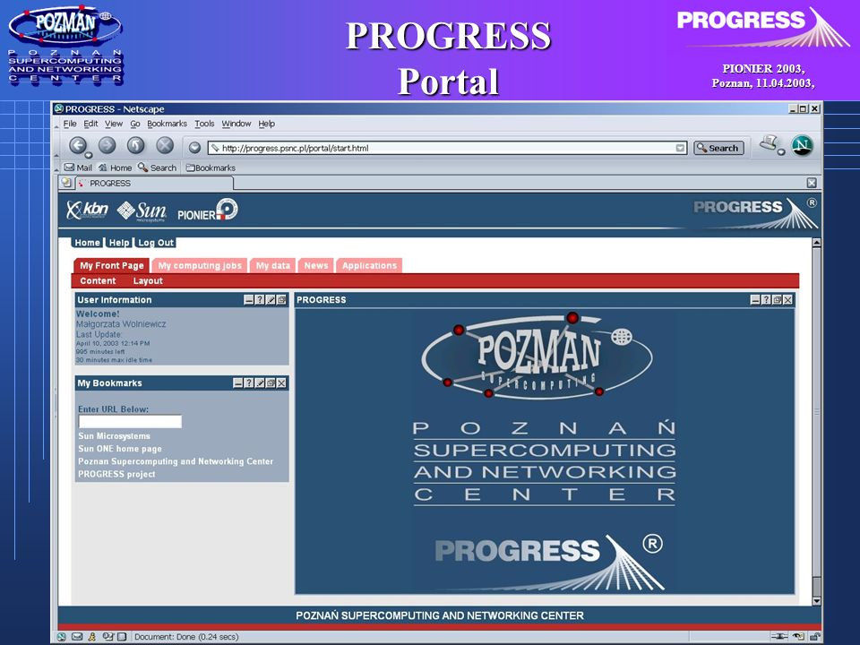 PIONIER 2003, Poznan, , PROGRESS Portal