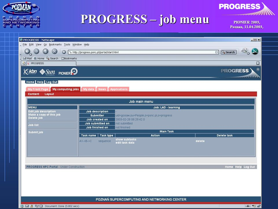PIONIER 2003, Poznan, , PROGRESS – job menu