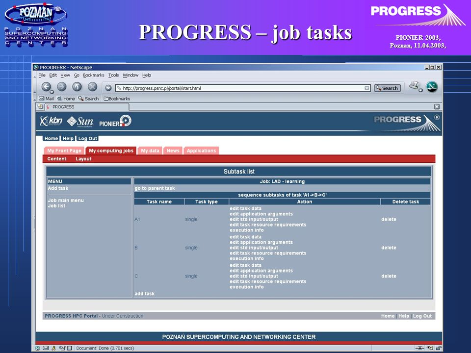PIONIER 2003, Poznan, , PROGRESS – job tasks