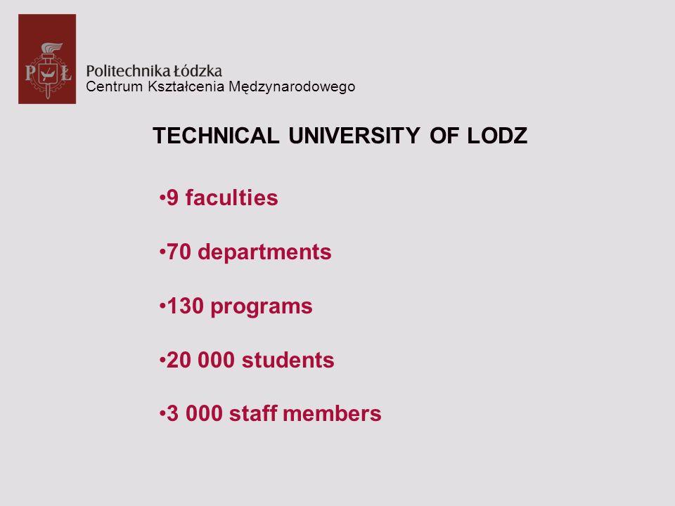 Centrum Kształcenia Mędzynarodowego TECHNICAL UNIVERSITY OF LODZ 9 faculties 70 departments 130 programs 20 000 students 3 000 staff members