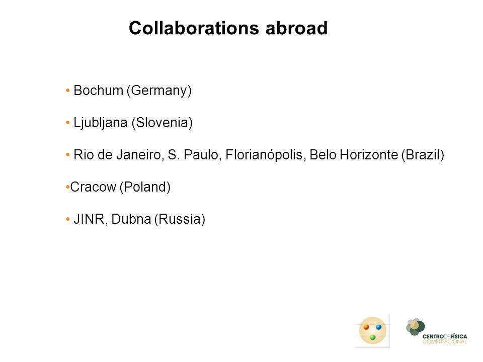 Collaborations abroad Bochum (Germany) Ljubljana (Slovenia) Rio de Janeiro, S. Paulo, Florianópolis, Belo Horizonte (Brazil) Cracow (Poland) JINR, Dub