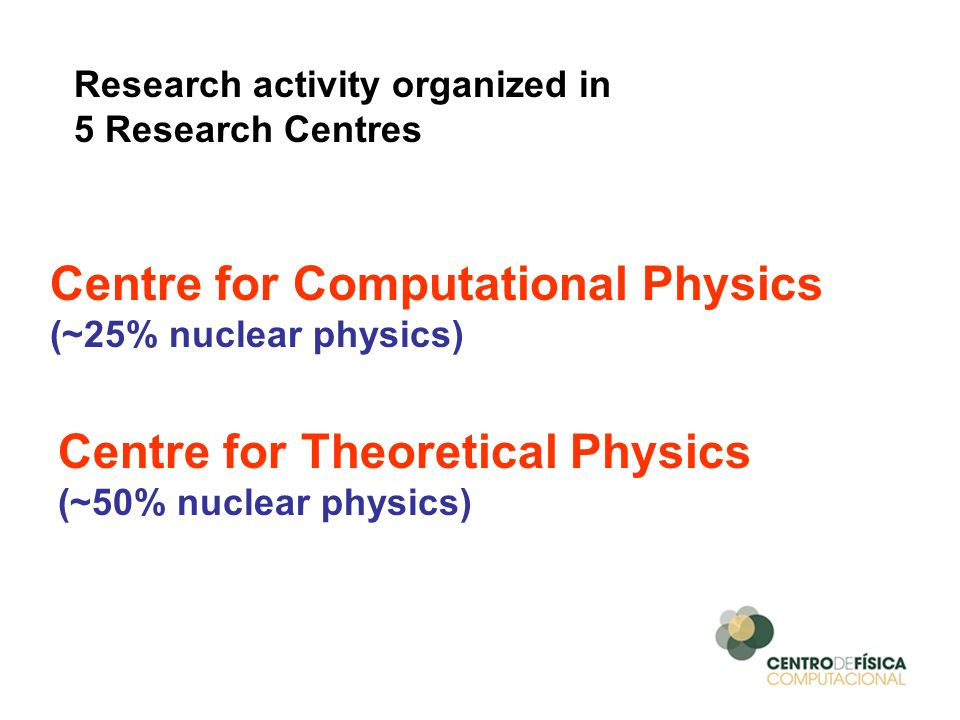 Research activity organized in 5 Research Centres Centre for Computational Physics (~25% nuclear physics) Centre for Theoretical Physics (~50% nuclear