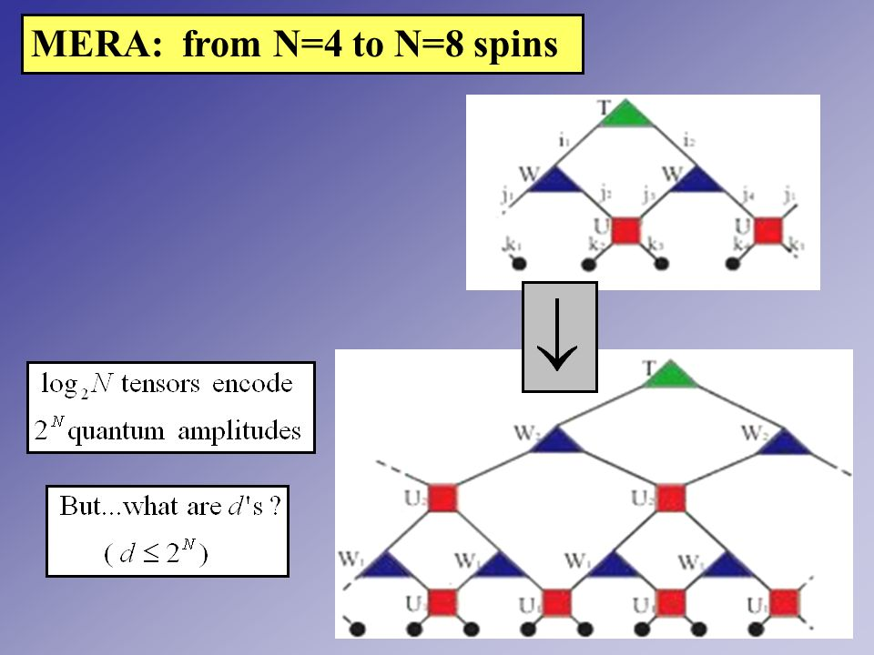 MERA: from N=4 to N=8 spins