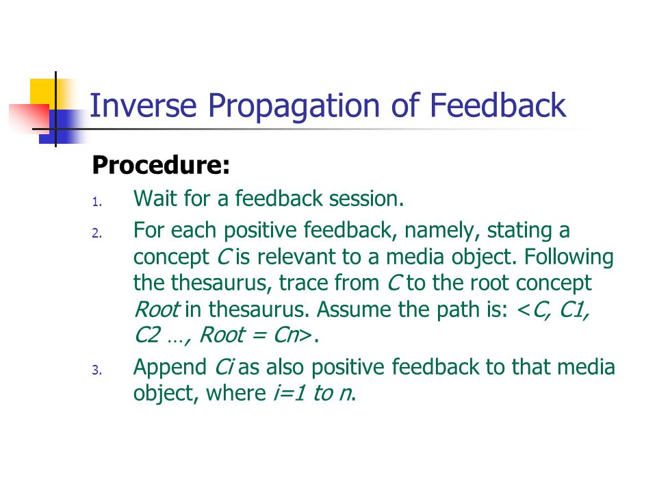 Inverse Propagation of Feedback Procedure: 1. Wait for a feedback session. 2. For each positive feedback, namely, stating a concept C is relevant to a