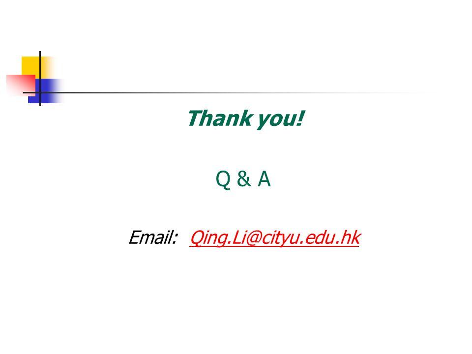 Thank you! Q & A Email: Qing.Li@cityu.edu.hkQing.Li@cityu.edu.hk
