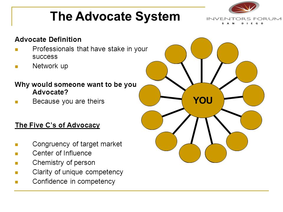 Advocate Definition Professionals that have stake in your success Network up Why would someone want to be you Advocate? Because you are theirs The Fiv