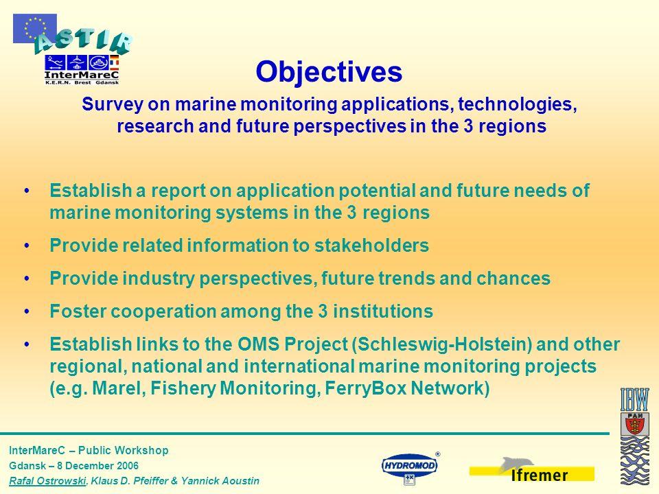 InterMareC – Public Workshop Gdansk – 8 December 2006 Rafal Ostrowski, Klaus D. Pfeiffer & Yannick Aoustin Objectives Survey on marine monitoring appl