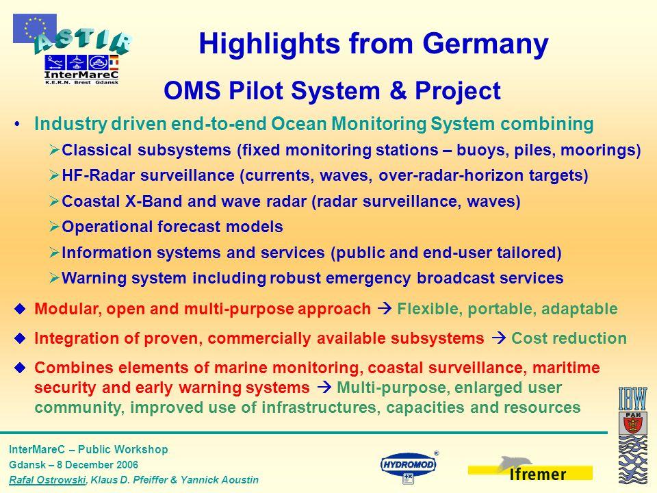 InterMareC – Public Workshop Gdansk – 8 December 2006 Rafal Ostrowski, Klaus D. Pfeiffer & Yannick Aoustin Highlights from Germany OMS Pilot System &