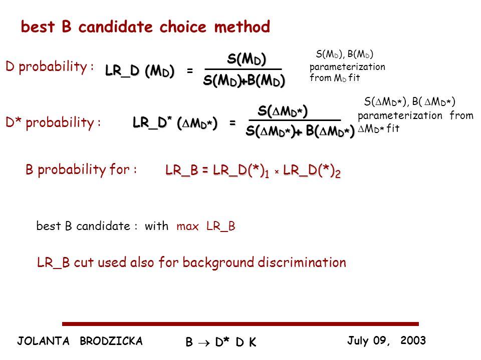 JOLANTA BRODZICKA July 09, 2003 B D* D K best B candidate choice method B(M D ) LR_D (M D ) LR_D (M D ) = S(M D ) + D probability : S(M D ), B(M D ) parameterization from M D fit B probability for : LR_B = LR_D(*) 1 × LR_D(*) 2 best B candidate : with max LR_B LR_D * ( M D * ) = LR_D * ( M D * ) =D* probability : S( M D * ) B( M D * ) + S( M D * ), B( M D * ) parameterization from M D * fit LR_B cut used also for background discrimination
