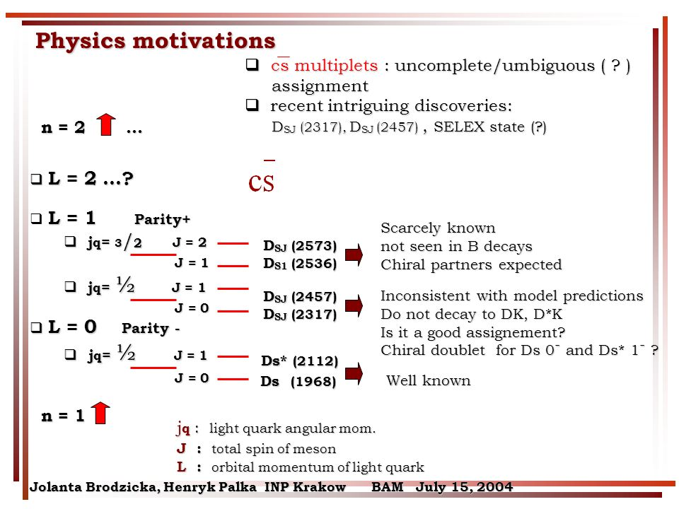 Jolanta Brodzicka, Henryk Palka INP Krakow BAM July 15, 2004 Physics motivations Inconsistent with model predictions Do not decay to DK, D*K Is it a good assignement.