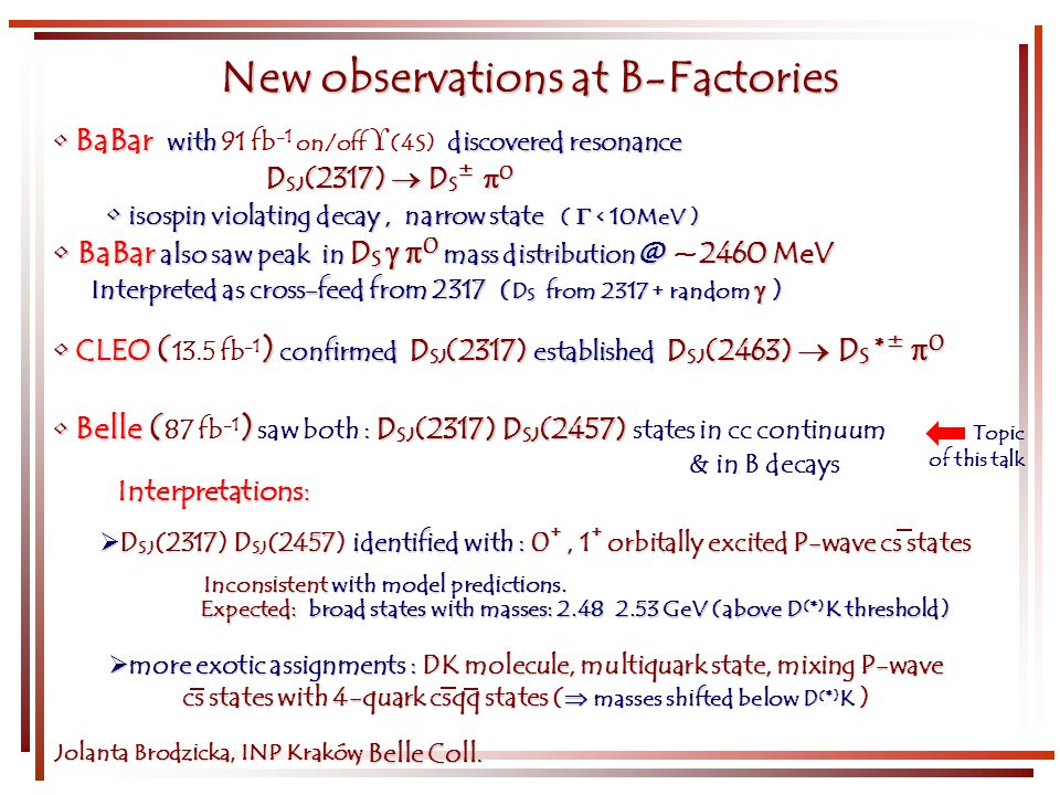 Topic of this talk BaBar with discovered resonance BaBar with 91 fb -1 on/off (4S) discovered resonance D SJ (2317) D S ± 0 isospin violating decay, n