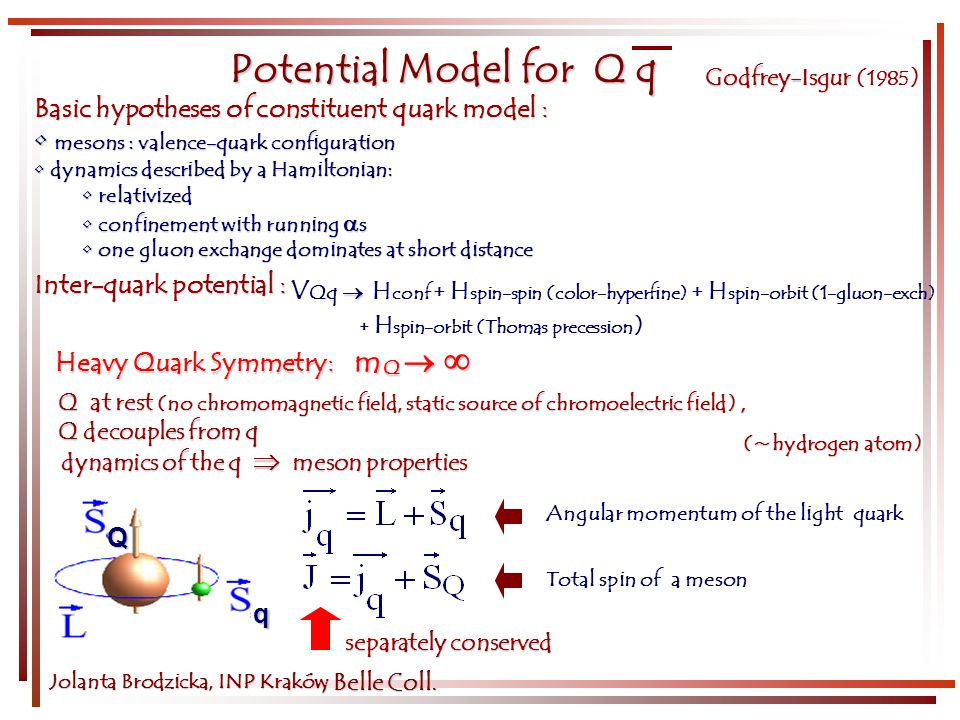 Potential Model for Q q Godfrey-Isgur Godfrey-Isgur ( 1985 ) Q q Jolanta Brodzicka, INP Kraków Total spin of a meson Angular momentum of the light quark Inter-quark potential : Basic hypotheses of constituent quark model : mesons : valence-quark configuration mesons : valence-quark configuration dynamics described by a Hamiltonian: dynamics described by a Hamiltonian: relativized relativized confinement with running s confinement with running s one gluon exchange dominates at short distance one gluon exchange dominates at short distance V Qq H conf + H spin-spin (color-hyperfine) + H spin-orbit (1-gluon-exch) + H spin-orbit (Thomas precession ) Q at rest (no chromomagnetic field, static source of chromoelectric field), Q decouples from q dynamics of the q meson properties Heavy Quark Symmetry: m Q Heavy Quark Symmetry: m Q (~hydrogen atom) (~hydrogen atom) separately conserved, Belle Coll.