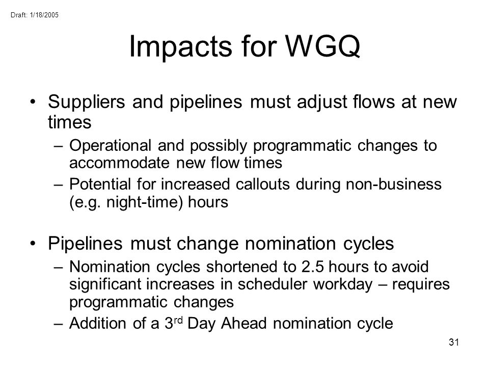 Draft: 1/18/2005 31 Impacts for WGQ Suppliers and pipelines must adjust flows at new times –Operational and possibly programmatic changes to accommoda