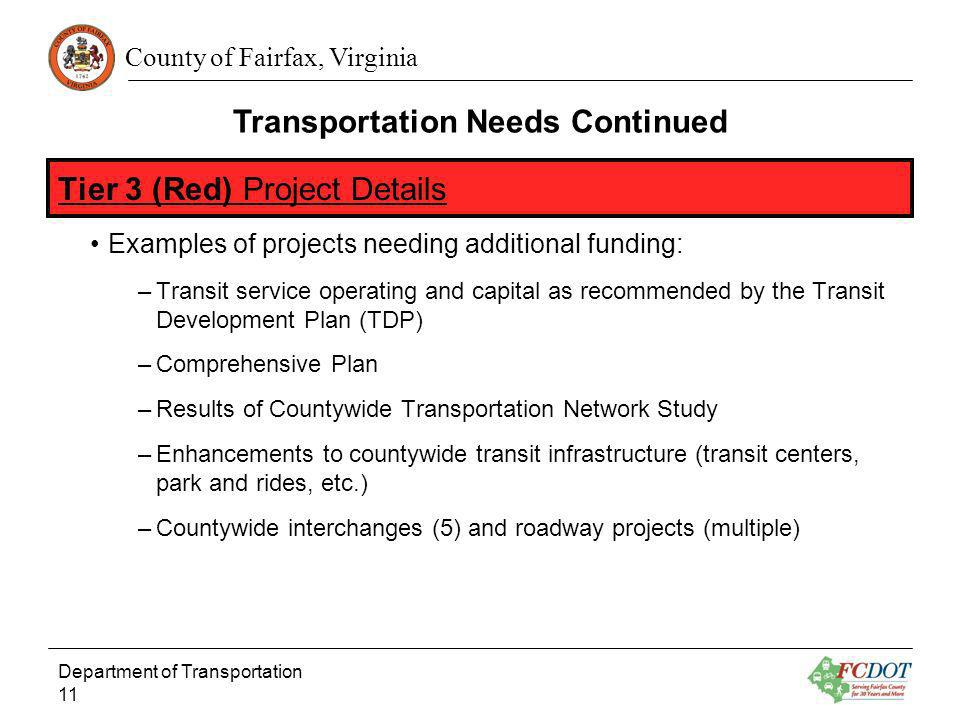 County of Fairfax, Virginia Examples of projects needing additional funding: –Transit service operating and capital as recommended by the Transit Deve