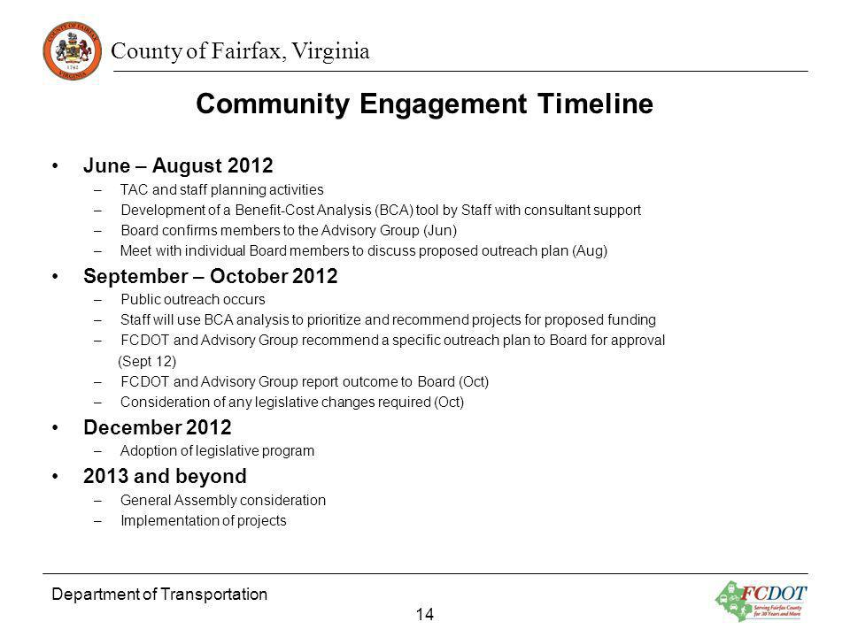 County of Fairfax, Virginia Community Engagement Timeline Department of Transportation 14 June – August 2012 –TAC and staff planning activities –Devel