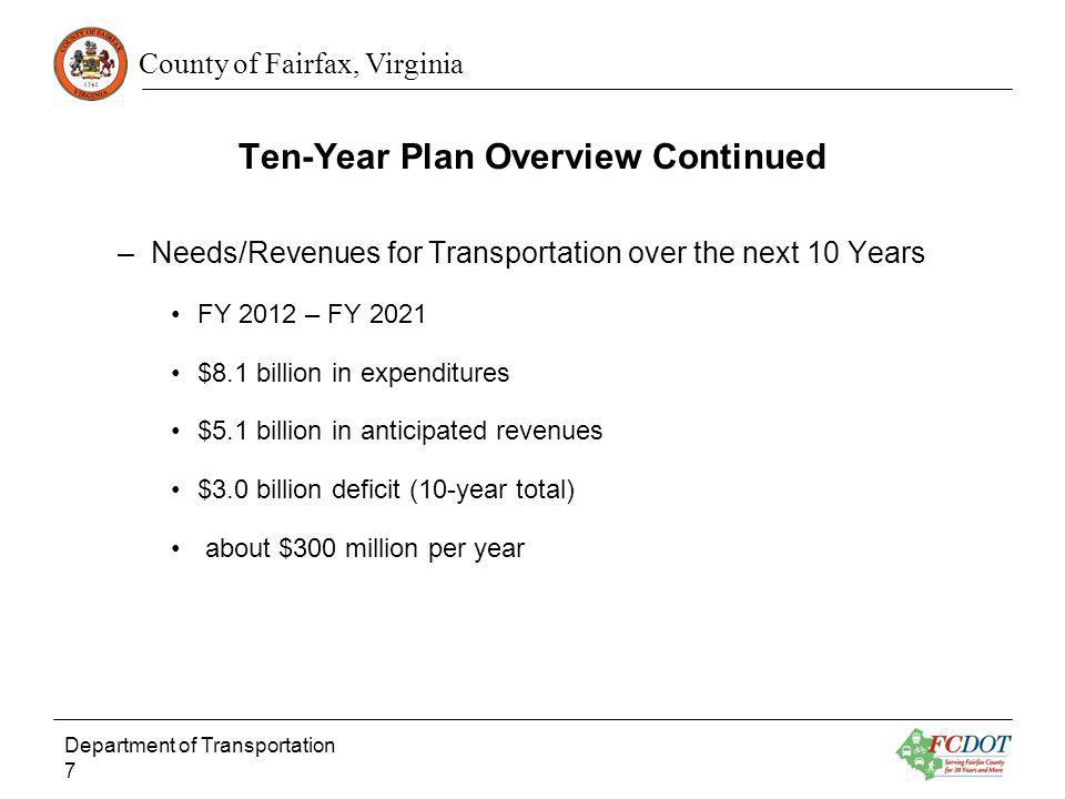 County of Fairfax, Virginia Ten-Year Plan Overview Continued –Needs/Revenues for Transportation over the next 10 Years FY 2012 – FY 2021 $8.1 billion