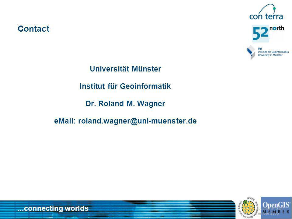 ...connecting worlds WKS Security in GDI 03. November 2005 Contact Universität Münster Institut für Geoinformatik Dr. Roland M. Wagner eMail: roland.w