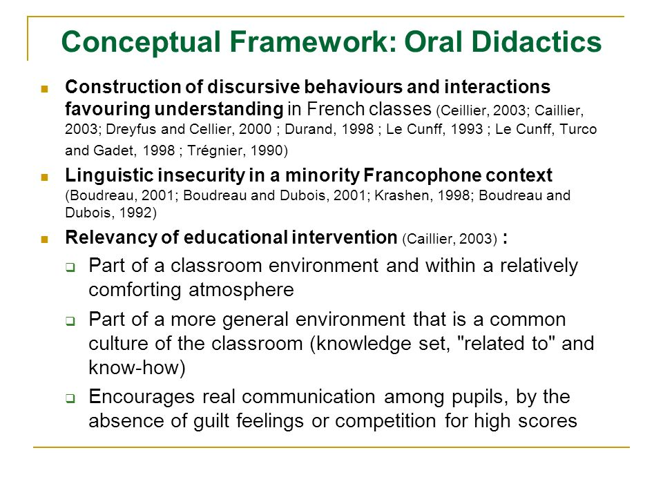 Conceptual Framework: Oral Didactics Construction of discursive behaviours and interactions favouring understanding in French classes (Ceillier, 2003; Caillier, 2003; Dreyfus and Cellier, 2000 ; Durand, 1998 ; Le Cunff, 1993 ; Le Cunff, Turco and Gadet, 1998 ; Trégnier, 1990) Linguistic insecurity in a minority Francophone context (Boudreau, 2001; Boudreau and Dubois, 2001; Krashen, 1998; Boudreau and Dubois, 1992) Relevancy of educational intervention (Caillier, 2003) : Part of a classroom environment and within a relatively comforting atmosphere Part of a more general environment that is a common culture of the classroom (knowledge set, related to and know-how) Encourages real communication among pupils, by the absence of guilt feelings or competition for high scores