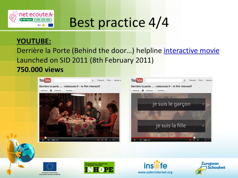 Best practice 4/4 YOUTUBE: Derrière la Porte (Behind the door…) helpline interactive movieinteractive movie Launched on SID 2011 (8th February 2011) 750.000 views