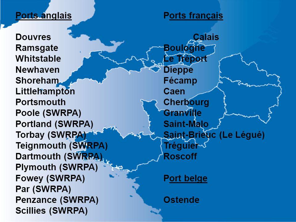 Ports anglaisPorts français DouvresCalais RamsgateBoulogne WhitstableLe Tréport NewhavenDieppe ShorehamFécamp LittlehamptonCaen PortsmouthCherbourg Po