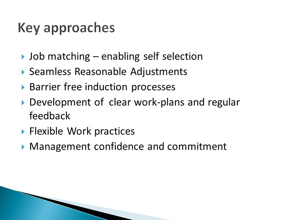 Job matching – enabling self selection Seamless Reasonable Adjustments Barrier free induction processes Development of clear work-plans and regular fe