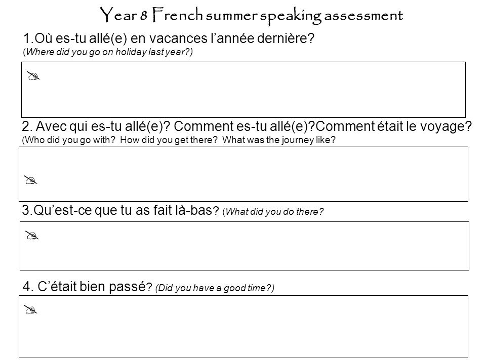 Level 2: short, simple (one or part phrase) responses to 3 of 4 questions.